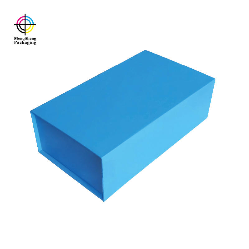 design custom blue foldable paper box with magnet closed