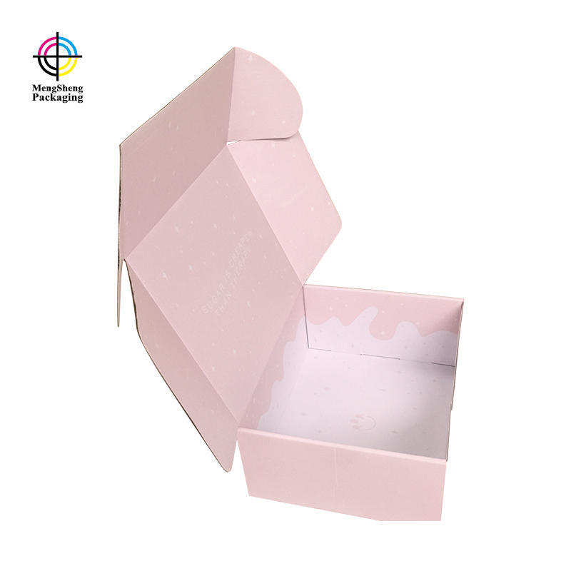 custom shipping box custom sweet pink color  mailling corrugated  for tshirt packing