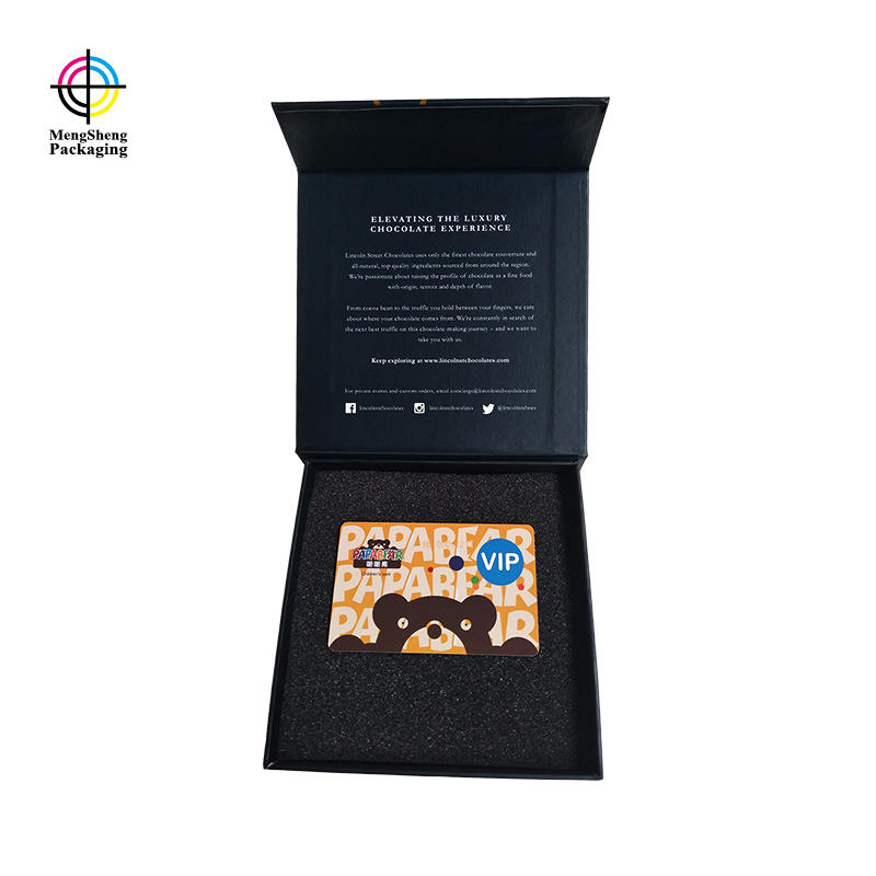 Customized book paper box with black sponge foam for gift cards
