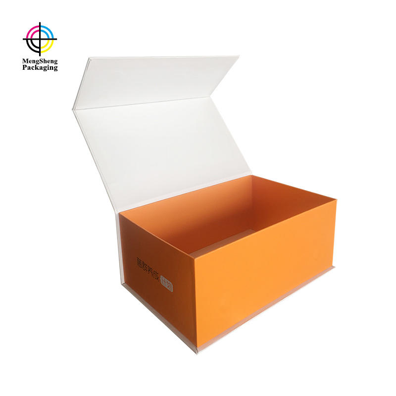 Book shape box with magnet orange color custom size for foods
