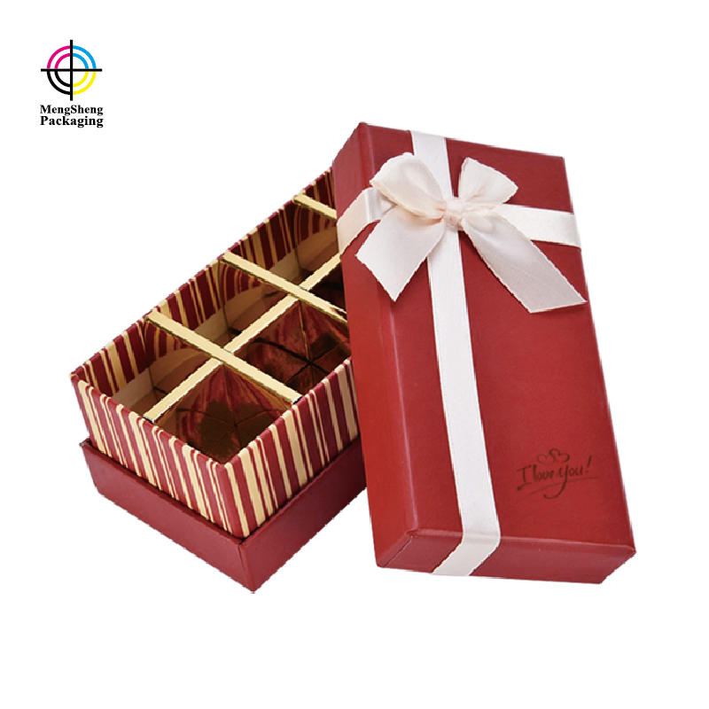Professional factory customized fancy paper luxury chocolate packaging gift box with divider and ribbon