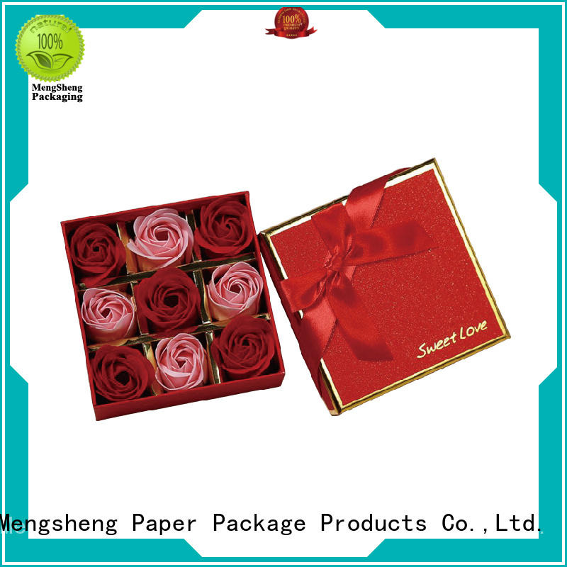 printed rose flower box square for packaging Mengsheng