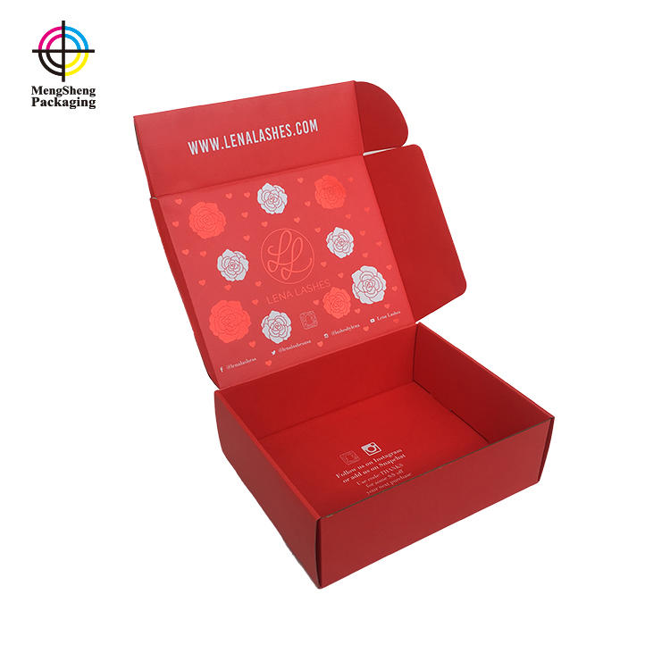 Custom Shipping Packing Boxes Printing China Red Hot Stamping Rose And Star For Eyelash