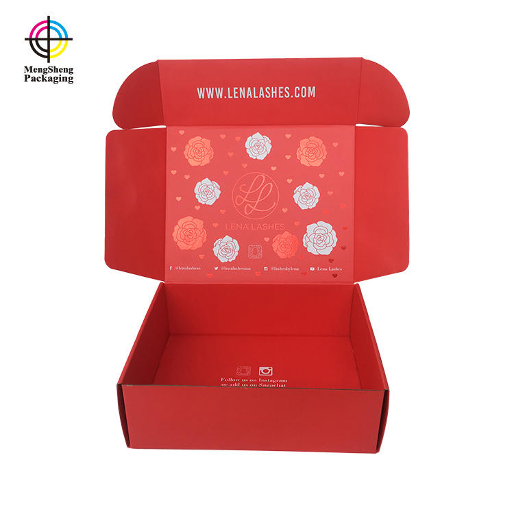 Custom shipping box printing china red hot stamping rose and star for eyelash