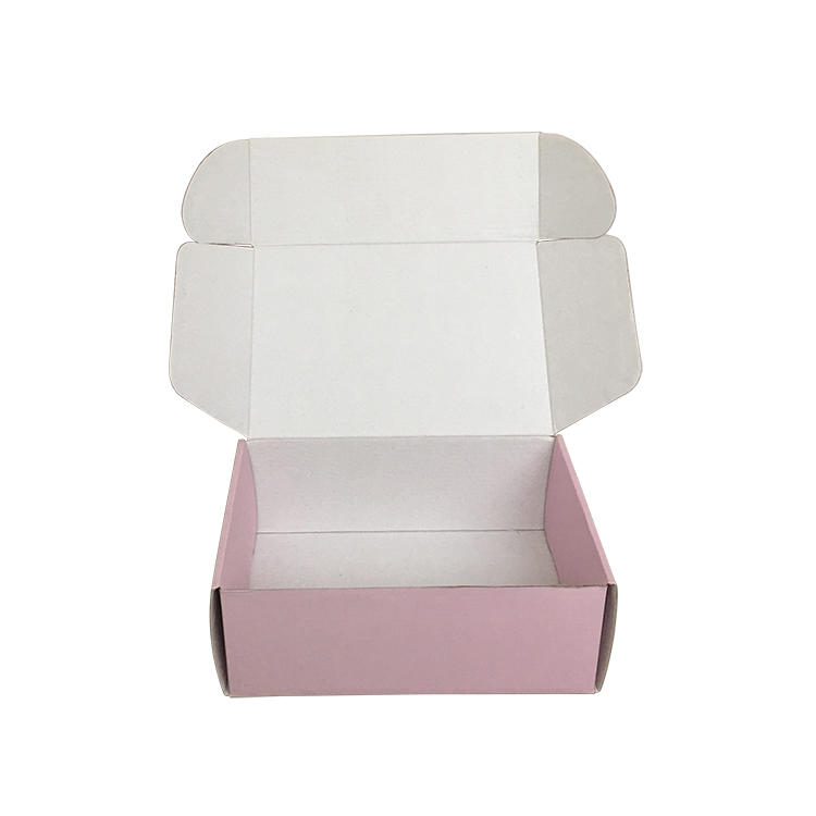 Clothing box pink color logo custom for shipping