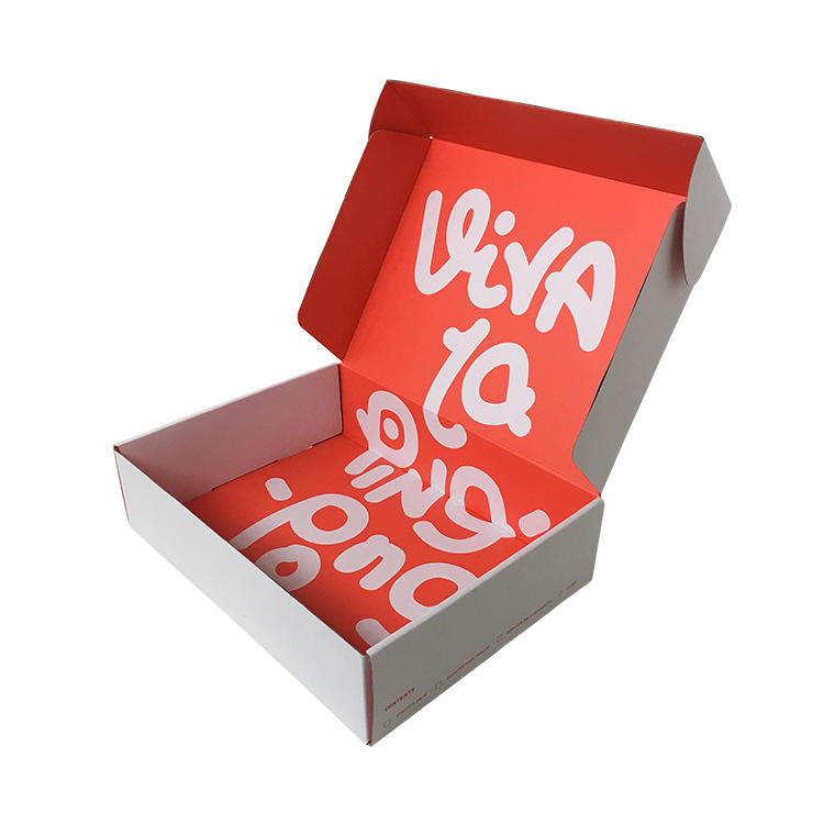 Custom Boxes Plain White Logo Red Color
