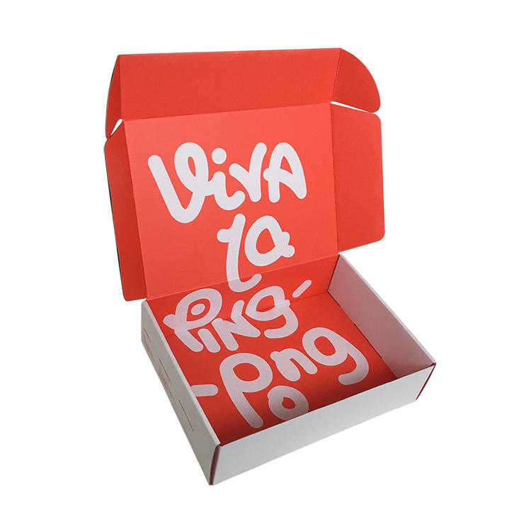 custom shipping box plain white logo red color