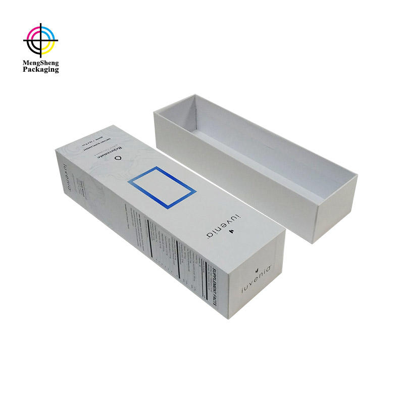 Custom paper sliding drawer box with paper insert and ribbon
