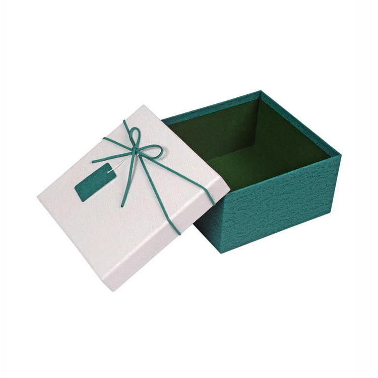 Handmade luxury specialty paper logo custom ribbon box lid and base paper box