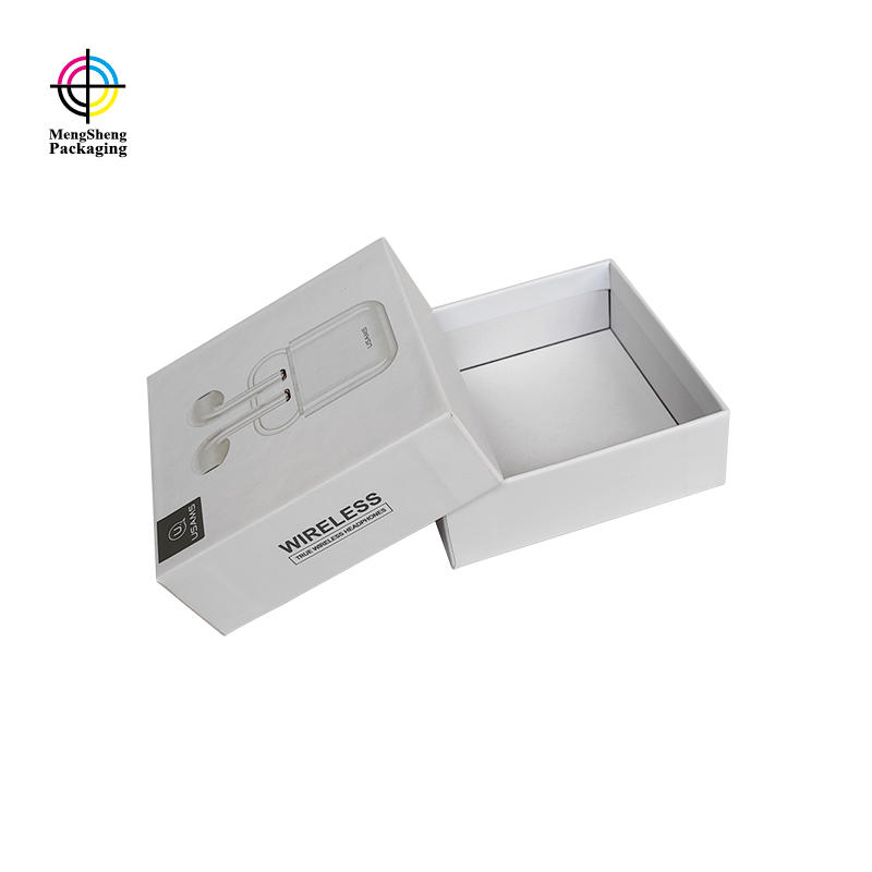 Custom logo printed headphones electronics packaging box lid and base paper box