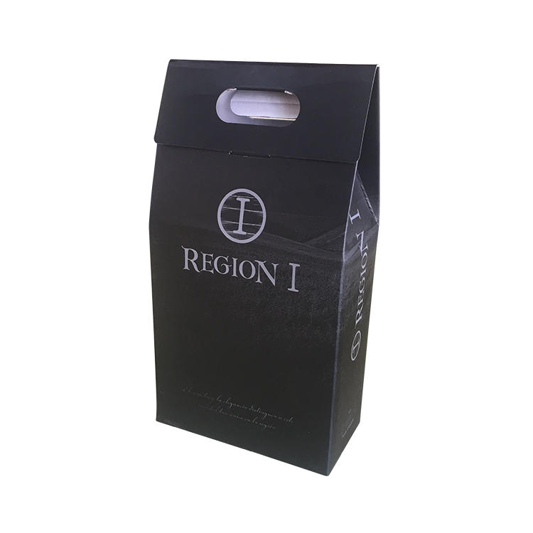 Custom cardboard wine bottle gift box with printing design