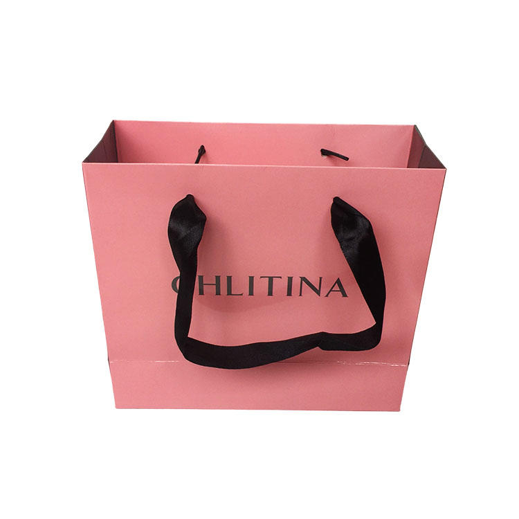 paper bag ribbon handle customized printing design for shopping