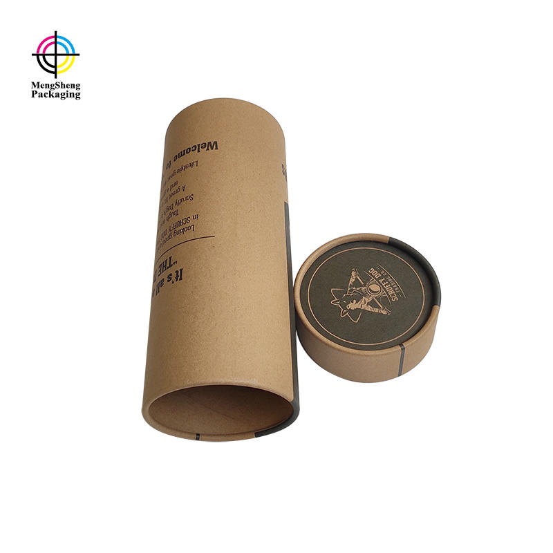 Wholesale natural kraft paper round tube box custom shipping box with company logo