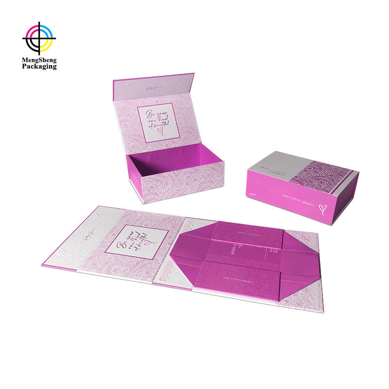 Custom luxury magnetic foldable gift box packaging with printing design
