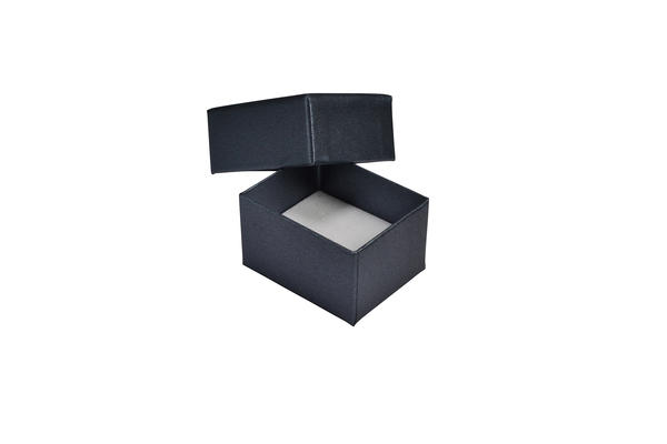 Rigid Cardboard Standard Small Jewelry Box for Rings, Earrings, Pendants or Hoops - Metallic Charcoal(with removable black/white reversible suede)