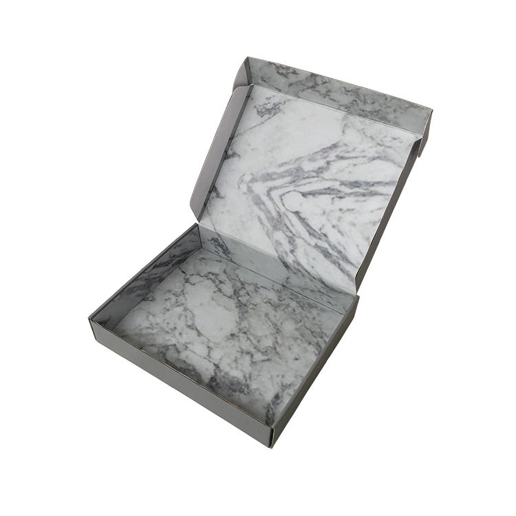 Custom Corrugated Mailer Boxes matte white outside marble inside