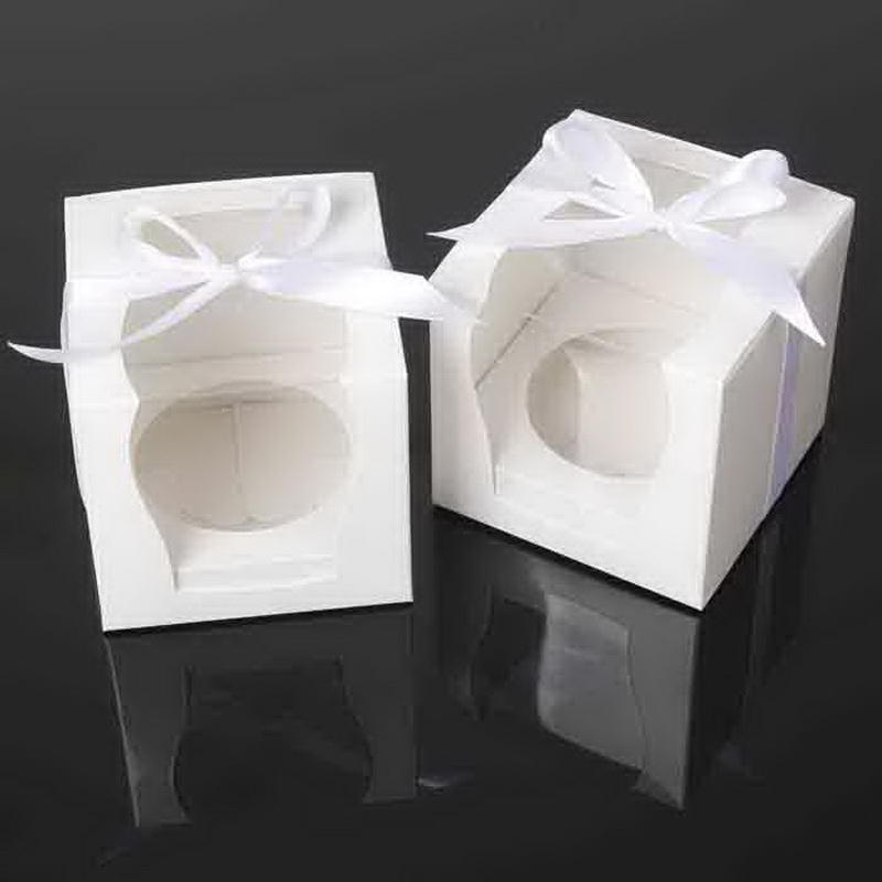 Single Cupcake Gift Paper Cake Box With Base Removable Insert Clear Window And Ribbon